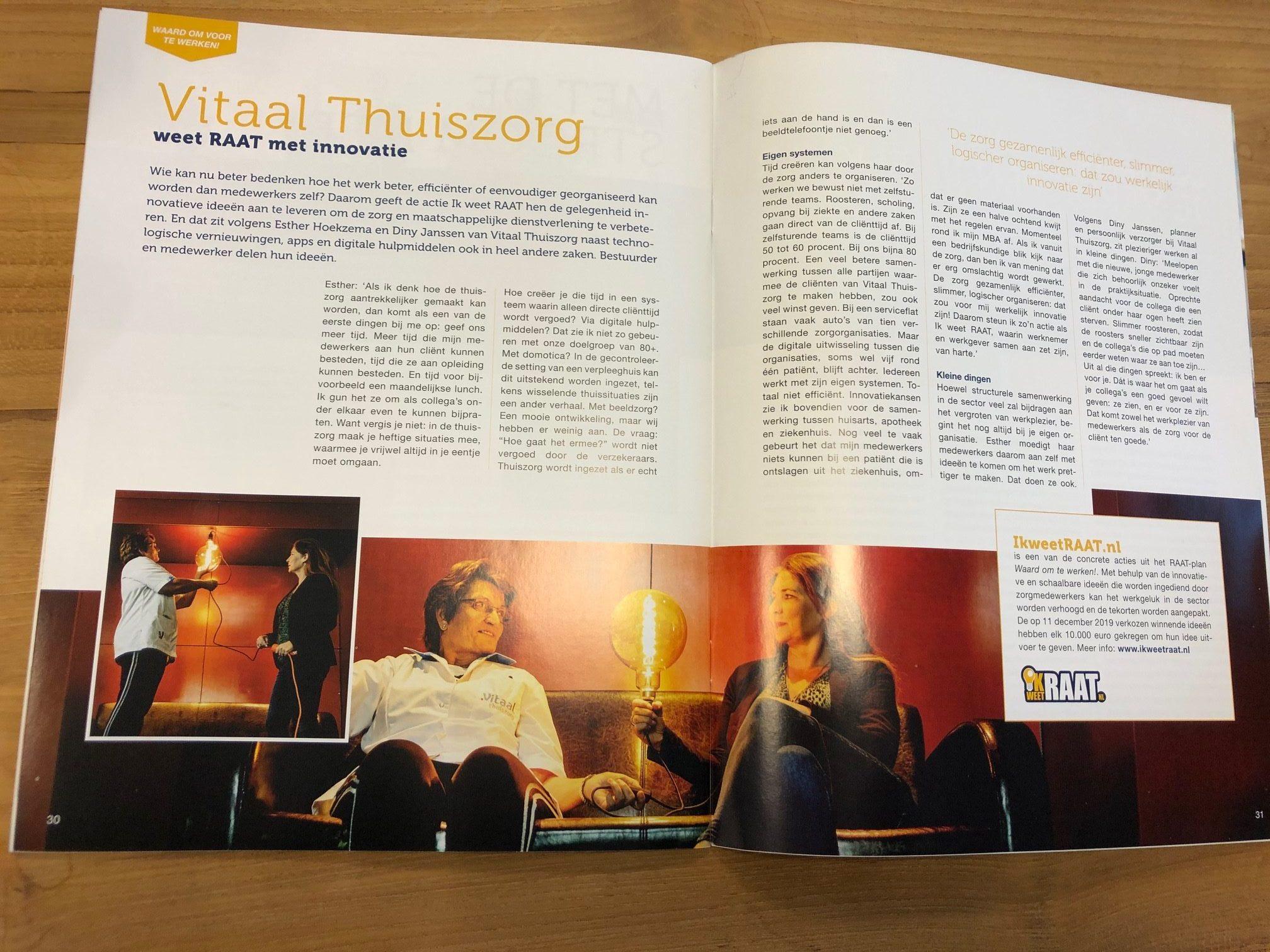 Vitaal Thuiszorg staat met artikel in het WZW Magazine
